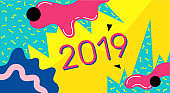 New year happy vector poster background illustration. 2019 text with Colorful Abstract Geometric. Design Template for Card, Poster, and Party Celebration