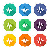 Illustration icon for cardiogram with several color alternatives