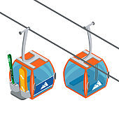 Ski Lift Gondolas moving. Isolated on white background. Illustration of winter transport for the advertising flyer, post card or banner