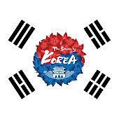 Beautiful Korean calligraphy, Mugunghwa flower and Korea flag style emblem design