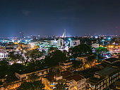 Bangkok Cityscape  view from golden mount at wat saket temple Thailand.The landmark travel destination of bangkok city thailand