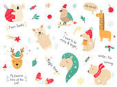 Christmas holiday set with hand drawn animals. Collection of card and tags with cute characters