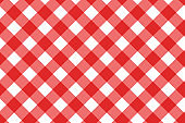 Red and white vector background. Plaid pattern
