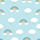 rainbow with  rain drops  seamless pattern vector
