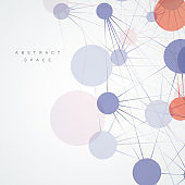 Abstract connection lines and dots for poster, cover and presentation. Vector illustration
