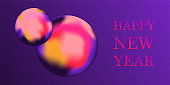 Happy New Year wishes vector banner template