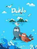Beautiful Korean Island, Dokdo. Seals living on the island greet.