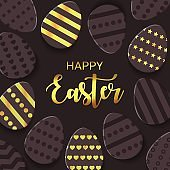Happy Easter greeting banner with a gold lettering. Paper cut Layered Eggs Hunt. Geometric Luxury holiday symbol for e-mail newsletter, shopping sale banners, voucher, add.