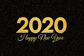2020 Happy New Year. New Year 2020 greeting card. Dark Background with golden numbers and glitter.