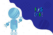 Abstract background with charming robot and lettering for children coding design concept in flat style
