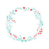 Wreath of flowers in pastel colors: pink and blue. Set of colors for the romantic design in rustic style. Flowers and hearts frame for love card.