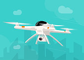 Drone flying in the sky vector illustration, flat cartoon quadcopter fly in the city modern clipart