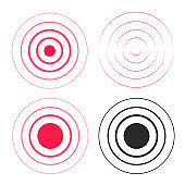 Red ripple rings sound waves icons set, line circle gradient, radio signal black and white lines with big point in center, water drop waves, epicenter element design isolated on white