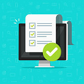 Survey checklist form or complete task list on computer vector illustration, flat cartoon pc with checkmarks document or questionnaire report on screen, modern approved test, exam results