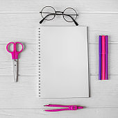 Pink and purple stationery for creativity. Square. The concept of school, creativity, childhood.