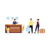 Receptionist welcomes guests at hotel lobby flat vector illustration isolated.