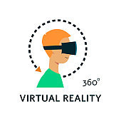 Vector flat young man in virtual reality headset
