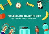 Sports and healthy lifestyle banner with top view of various sport equipment, gadgets and diet food for training.