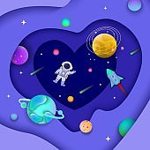 Background template for banner and postcard with space and galaxy, astronaut and planets.