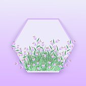 Floral seasonal vector illustration with little violet wildflowers in hexagon shaped badge.