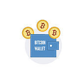 Vector bitcoin wallet concept purse gold coin icon