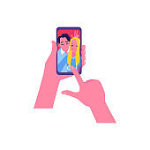 Vector flat happy couple selfie in phone screen