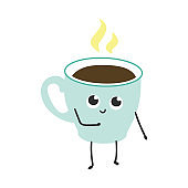 Vector illustration of coffee or tea cup with steam cartoon character.