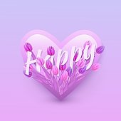 Vector illustration of Happy text floral design with letters in bouquet of violet and pink tulips in heart shape.