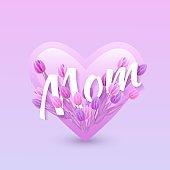 Vector illustration of Mom text floral design with letters in tulips in heart shape for Mothers day.