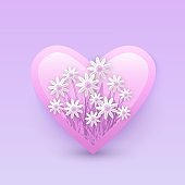 Vector illustration of floral decorative element in heart shape - tender pink camomiles in badge.