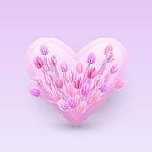Vector illustration of bouquet of pink tulips in heart shaped badge.