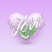 Vector illustration of Love text floral design with letters in bouquet of little purple wildflowers in heart shape.