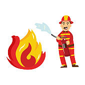 Vector fireman in protection uniform fight fire