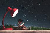 Reading under starry night