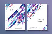 Modern templates set for business or promotional brochure or report cover with abstract gradient geometric shapes.