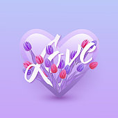 Vector illustration of Love text floral design with letters in bouquet of violet and pink tulips in heart shape.
