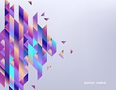 Modern gradient banner with abstract geometric shapes and stripes with fluid color.