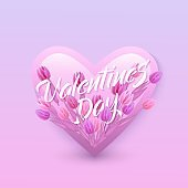 Vector illustration of Valentines Day text floral design with letters in bouquet of tulips in heart shape