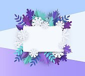 Vector winter background with leaves and snowflake