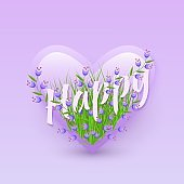 Vector illustration of Happy text floral design with letters in bouquet of little purple wildflowers in heart shape.