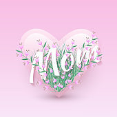 Vector illustration of Mom text floral design with letters in bouquet of little pink wild flowers in heart shape.