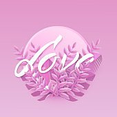 Vector illustration of Love text floral design with letters in pink tropical leaves in round shape.
