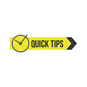 Quick tips sign or badge with clock and arrow for social media vector illustration isolated.