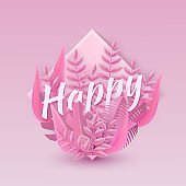 Vector illustration of Happy text floral pink design with letters in bunch of leaves in frame of drop shape.