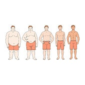 Fat loss diet progress from overweight to thin