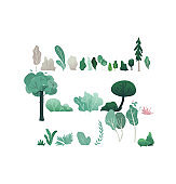 Fantasy forest vector illustration set with various trees and shrubs with green and gray foliage.