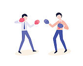 Vecto flat office workers fight in boxing gloves