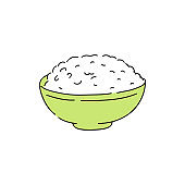 Cooked white rice in green bowl