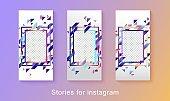 Instagram stories photo frames, set of blank templates for social media post