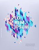 Modern business report cover or brochure template with copy space and abstract gradient geometric shapes.